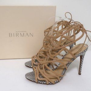 Alexandre Birman Melody Cage Sandals Nude Leather